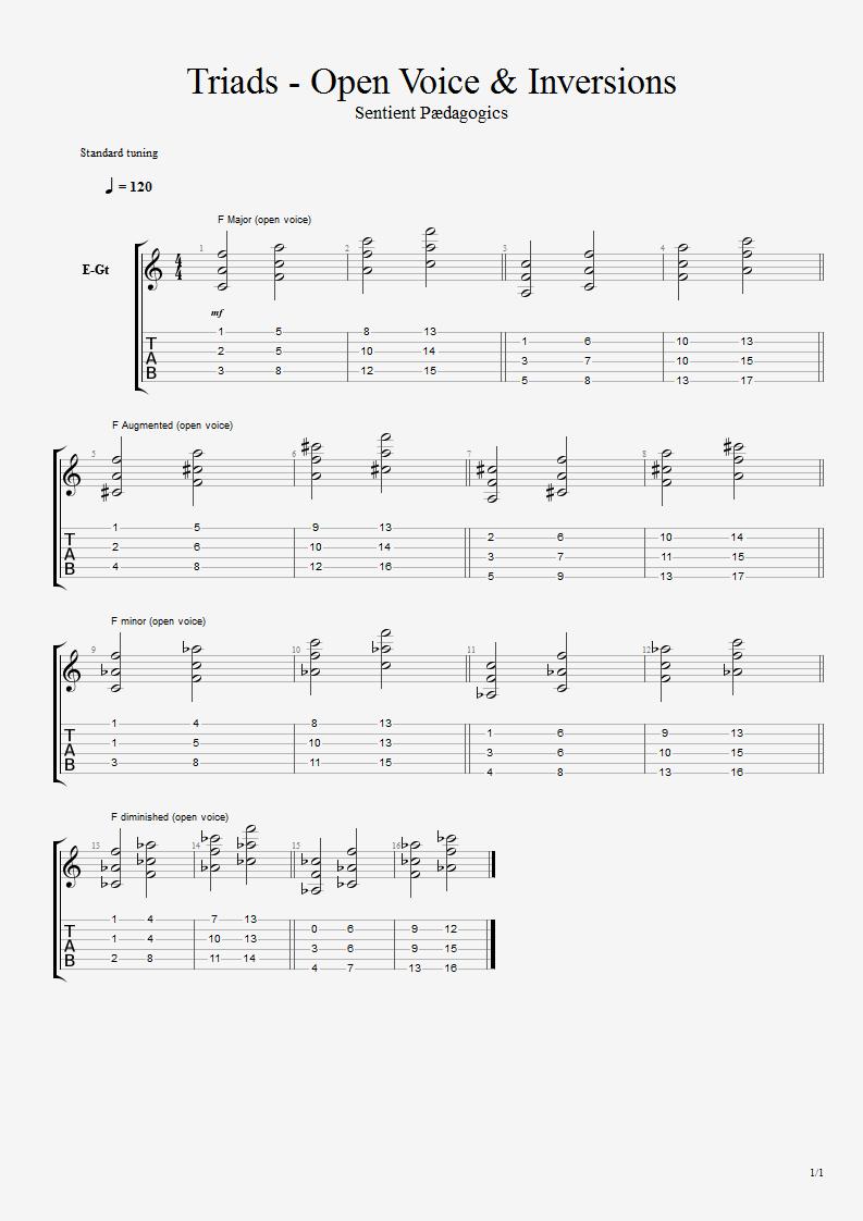 Triads closedopen inversions senchants art of teaching guitar bass violin mandolin ukulele vocal piano drums hexwebz Choice Image